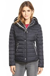 Women's Vince Camuto Hooded Down Jacket With Vest Front Insert Navy