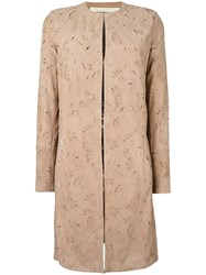 Drome Cut Off Pattern Collarless Coat Nude Neutrals