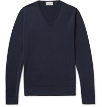 John Smedley Blenheim Merino Wool Sweater Midnight Blue