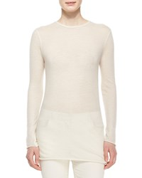 The Row Long Sleeve Cashmere Tissue Top Natural Size L