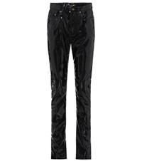 Saint Laurent High Waisted Faux Leather Trousers Black