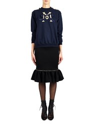 Alexis Mabille Flounced Pencil Skirt In Black Jersey