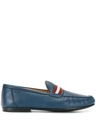 Bally Striped Panel Loafers Blue