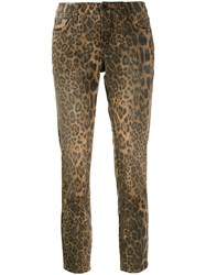 Cambio Cropped Leopard Print Jeans Brown