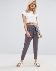 Asos Wrap Front Drop Crotch Harem Trousers Charcoal Grey