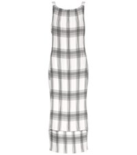 Helmut Lang Pleated Plaid Dress White