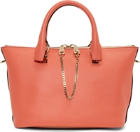 Chloe Coral Pop And Blush Colorblock Calfskin Small Baylee Bag