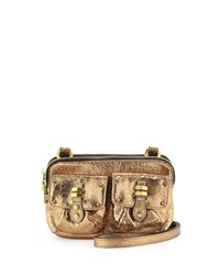 Oryany Monica Metallic Leather Crossbody Bag Gold