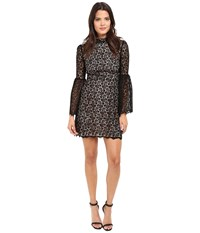 Jill Stuart Venice Lace Short Dress With High Neck And Long Sleeves Black Women's Dress