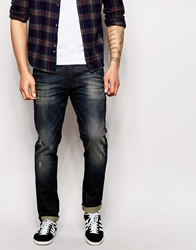 Asos Skinny Jeans With Coated Brown Tint Blue