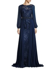 Rickie Freeman For Teri Jon Lace And Chiffon Beaded Gown Navy