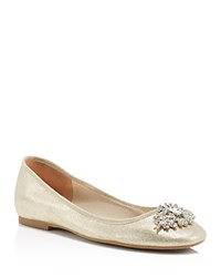 Badgley Mischka Abella Metallic Jewel Flats Platino