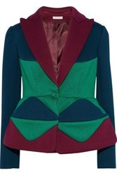 Delpozo Color Block Neoprene Peplum Blazer Forest Green