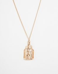And Mary Necklace With Birdcage And Swallow Charm Goldplate