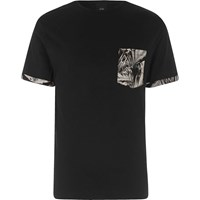 River Island Black Floral Print Pocket T Shirt