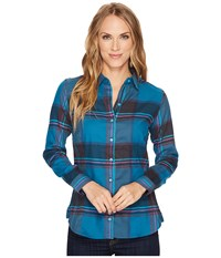Kuhl Kiana Flannel Shirt Harbor Women's Long Sleeve Button Up Blue