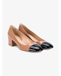 Gianvito Rossi Low Heel Patent Leather Pumps Black Natural White