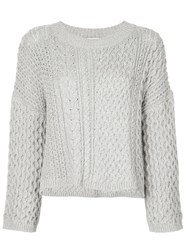 Jason Wu Long Sleeve Knitted Top Grey