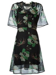 Marni Sheer Floral Print Dress Black