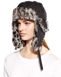 Surell Quilted Fur Trim Trapper Hat Black Spotted