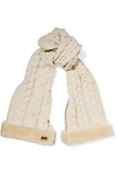 Australia Luxe Collective Shearling Trimmed Cable Knit Scarf Ecru