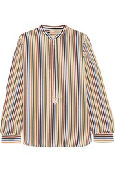 Vanessa Bruno Striped Silk Crepe Blouse Red Yellow