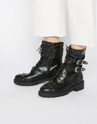 Daisy Street Lace Up Strap Chunky Flat Ankle Boots Black Grain