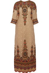 Valentino Embroidered Cotton Blend Lace Maxi Dress Tan