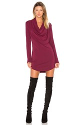 Bobi Jersey Long Sleeve Cowl Neck Bodycon Dress Fuchsia