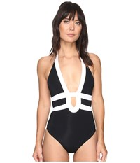 Jets By Jessika Allen Classique Banded Halter One Piece Black White Women's Swimsuits One Piece