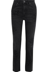 Sandro Woman Sequin Embellished High Rise Straight Leg Pants Black