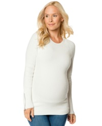 A Pea In The Pod Maternity Zip Cuff Sweater Soft White