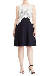 Lauren Ralph Lauren Plus Size Women's Lace Overlay Crepe Fit And Flare Dress