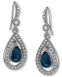 Carolee Earrings Silver Tone Pave Stone Drop Earrings