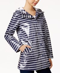 Bcbgeneration Hooded Water Resistant Striped Raincoat Navy White