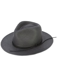 Rag And Bone Packable Straw Fedora Hat Grey