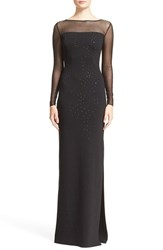 Women's St. John Collection Embellished Shimmer Milano Knit Gown Caviar