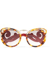 Prada Cat Eye Tortoiseshell Acetate And Gold Tone Sunglasses One Size