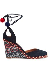 Aquazzura Palm Beach Embroidered Wedge Espadrilles Navy