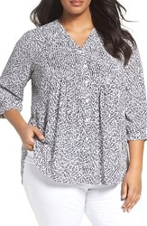 Foxcroft Plus Size Women's Dots And Dashes Blouse