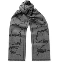 Alexander Mcqueen Fringed Intarsia Felted Wool Scarf Gray