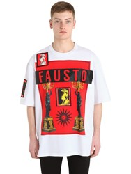 Fausto Puglisi Printed Cotton Jersey T Shirt W Patches