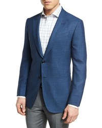 Ermenegildo Zegna Manhattan Textured Two Button Sport Coat Blue
