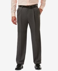 Haggar Men's Cool 18 Pro Classic Fit Stretch Pleated Dress Pants Charcoal Heather