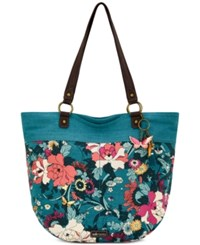 Sakroots Kai Canvas Tote Teal Flower Power Gold