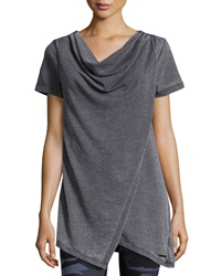 Marc Ny Performance Short Sleeve Cowl Neck Tunic W Wrap Detail Smoke