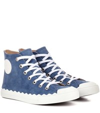 Chloe High Top Suede Sneakers Blue