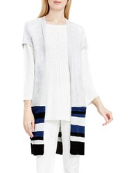 Vince Camuto Boucle Striped Long Open Vest Grey