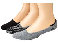 Sperry Skimmers Feed Stripe 3 Pack Black Charcoal Heather Men's Crew Cut Socks Shoes
