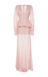 Alessandra Rich Long Sleeve Full Length Peplum Dress Pink